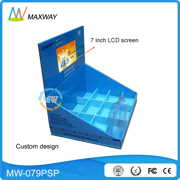 corrugated display box with 7 inch LCD screen for promotion