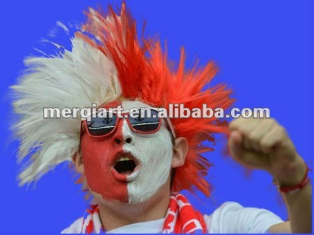 red and White Sports NFL/NBA/MLB/NHL Fan Wig for USA sport events