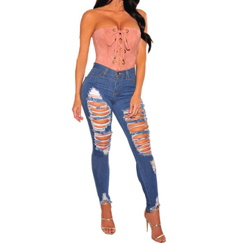 New fashion sexy holes little feet ripped jeans women