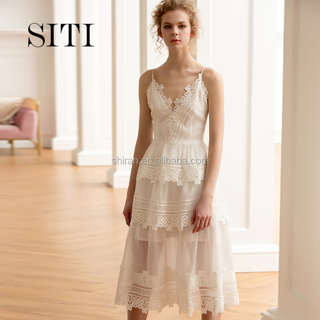 Siti white lace women dress with prom dress