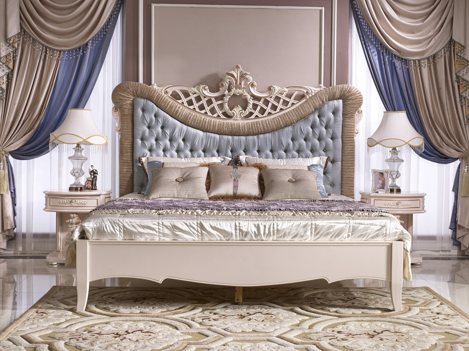 Royal luxury bedroom set classic french elegant bed for Elegant white bedroom furniture