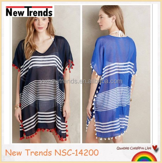 Summer beach shawl stripes tassels chiffon cape dress