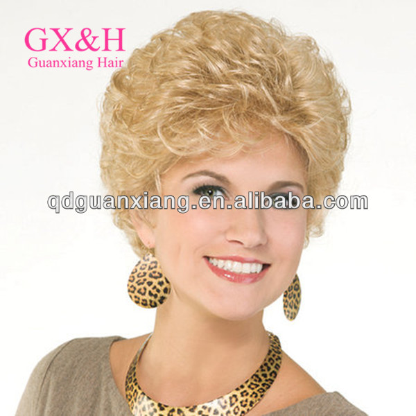2014 hot selling short spring curls human hair lace front wigs