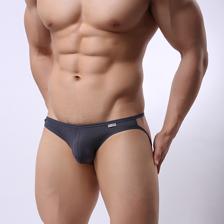 Mens sexy black drawstring faux leather stage underwear sale