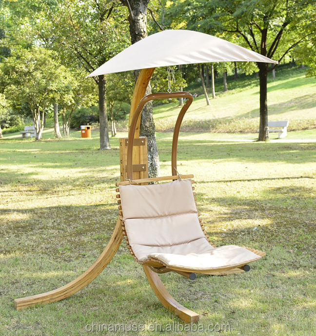 Outdoor Garden Furniture Wooden Hanging Swing Chair With Canopy