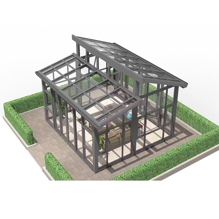 Prefab Safe Four Season Elegant Low-e Glass Conservatory Lantern Roof Sunroom Aluminum Frame Winter Garden Green House Design