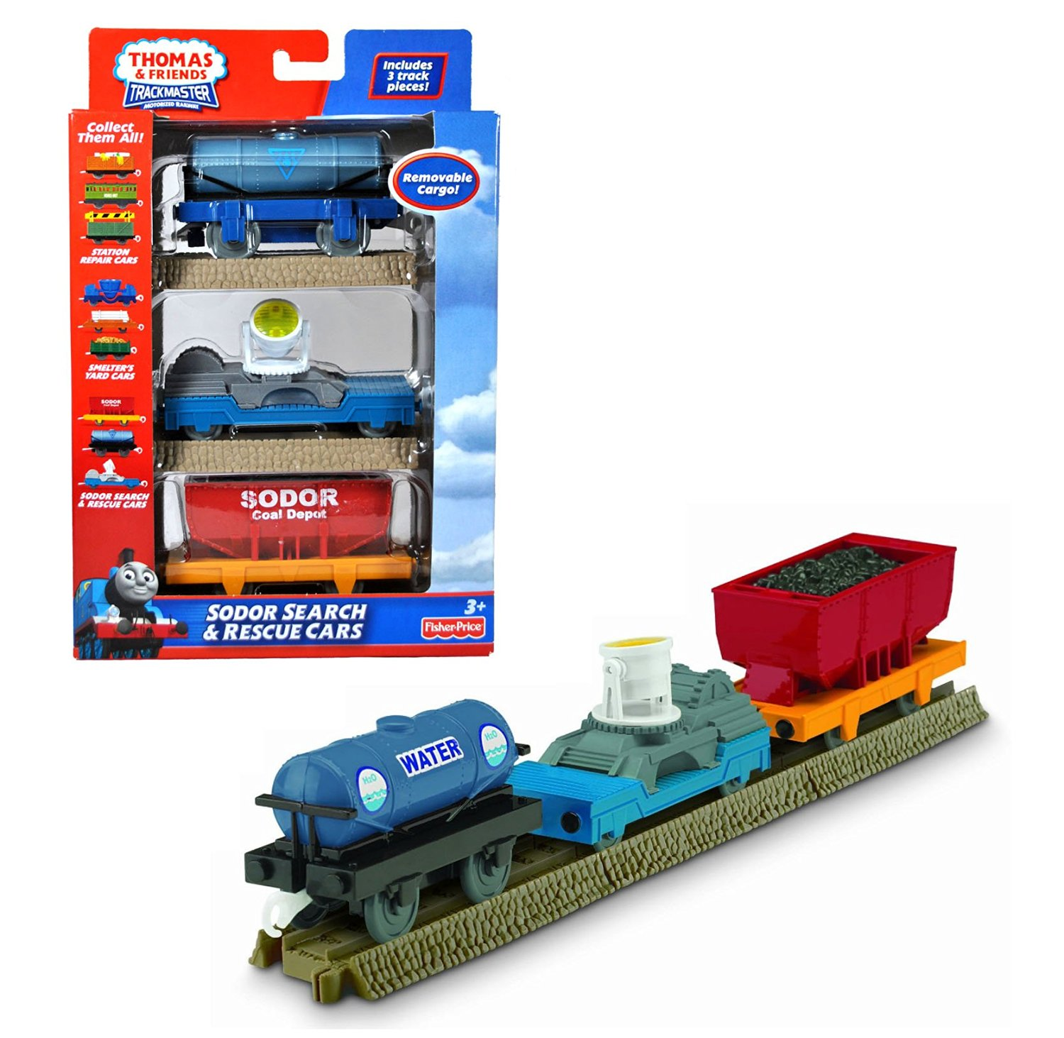 "Fisher Price Year 2010 Thomas and Friends Trackmaster Motorized Railway 3 Pack Train Car Set - ""SODOR SEARCH & RESCUE CARS"" with Water Tanker, Flat Bed Trailer with Search Light and Coal Wagon Plus 3 Straight Tracks (T4648)"