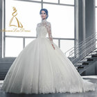White Ball Romantic Princess Plus Size 34 Lace Pattern Ivory 2014 Bridal Gown Open Back Muslim Wedding Dress