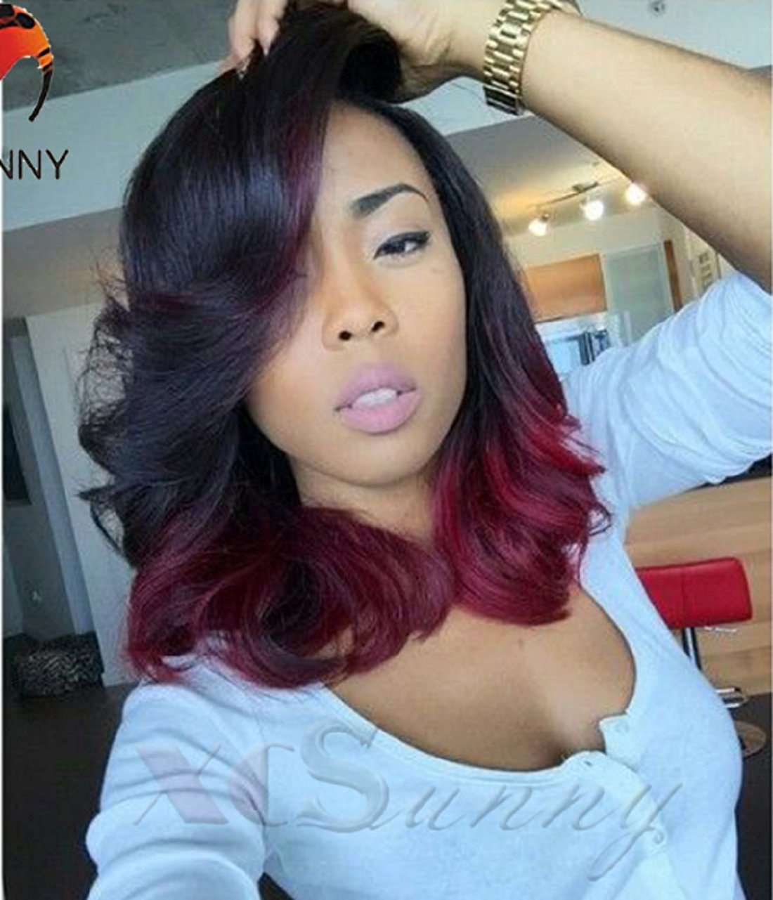 Buy Ombre #1b/burgundy Color Wavy Bob Wigs