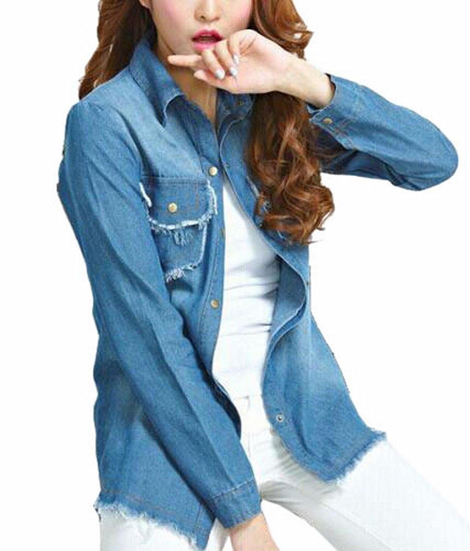 5b7db6b8b85 Get Quotations · WSPLYSPJY Womens Fitted Long Sleeve Jean Denim Coat Shirt  Blouse Lapel Top