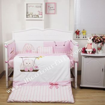 Lovely Swing Bunny Baby Bedding Sets In Pink Color