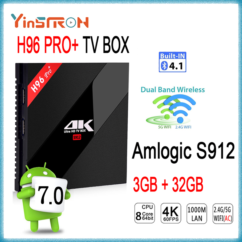 Most popular H96 pro plus Amlogic S912 Android 7.1 TV BOX 4K Kodi 17.1 3gb 32gb Android TV Box H96 pro+
