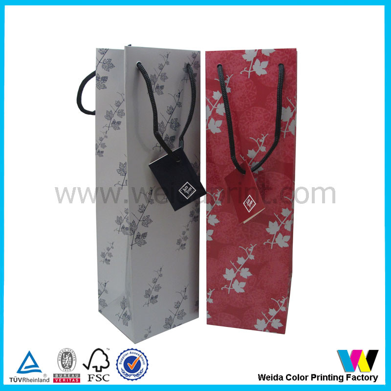 custom nice color printed wine bags wine bottle gift packaging paper bag with tag or paper card