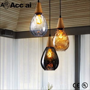 China Factory Stained Hanging Lights Incandescent Bulb Italian Luster Glass Pendant Lamp