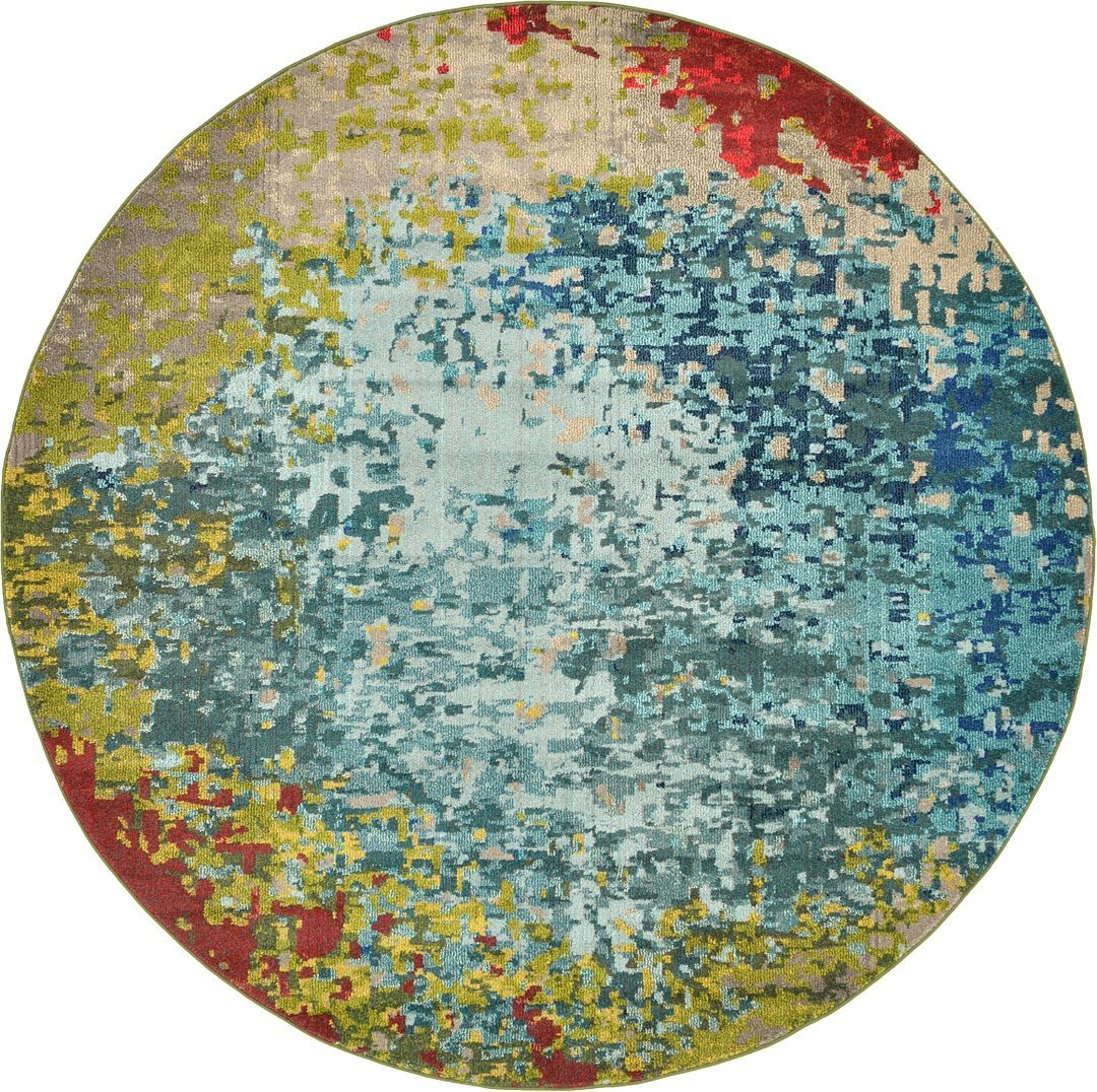 A2Z Rug Modern Mayfair Collection, Blue 8-Feed-by-8-Feed Area Rugs - Contemporary Living & Dinning & Bedroom Carpet