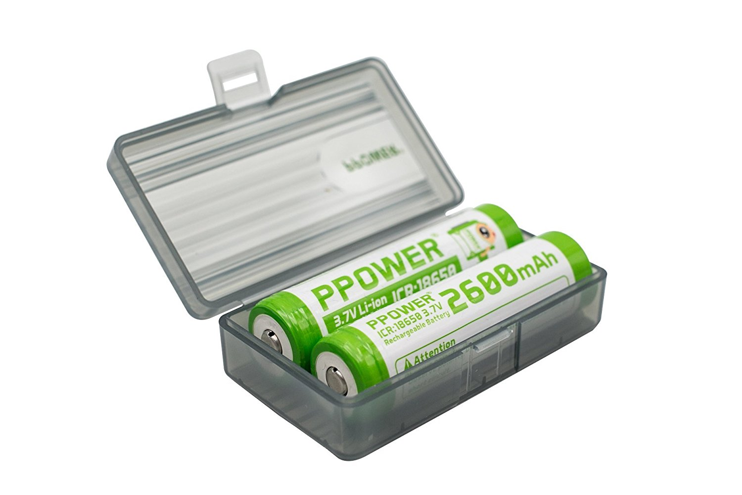 1X Ppower Grey battery box, storage box, for 2x 18650, 4x 16340, 17500, 17650 batteries, battery case (batteries are not included) P-Power
