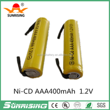 AAA/AA 1.2v rechargeable battery cell with welding tabs