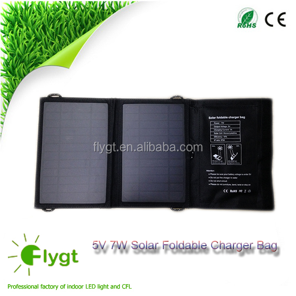 7W panel Foldable solar charger bag for cellphone mobile battery