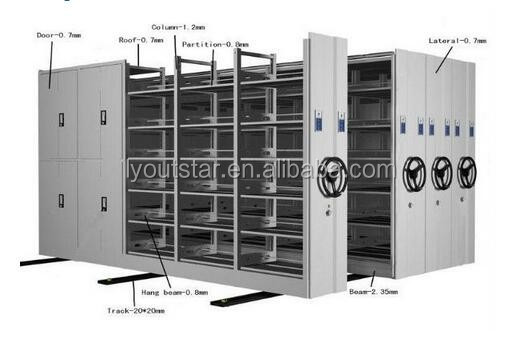 Steel Large Archives Mobile Shelving Metal Movable Compactor Mobile Filing Cabinet