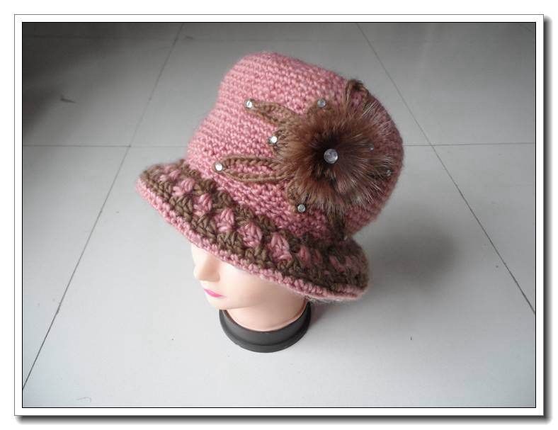 Wholesale ladies knitting crochet cowboy billycock hat with flower