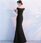 Elegant Off-the-shoulder Long Bridesmaid Formal Dress Prom Gown