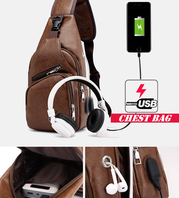 Mens crossbody chest bag travel outdoor leather chest bag with USB port