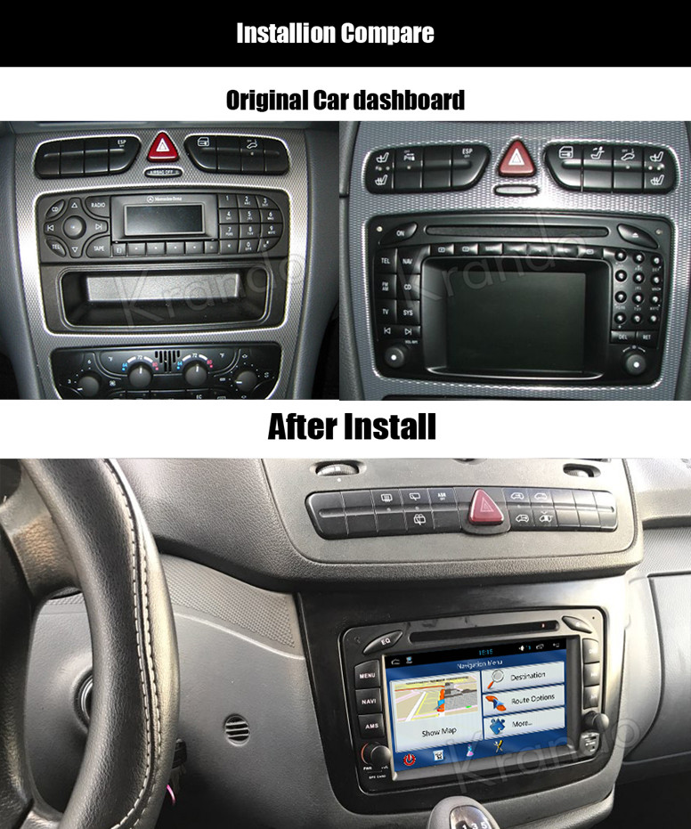 krando android 7 1 car radio for mercedes w203 2000 2005. Black Bedroom Furniture Sets. Home Design Ideas