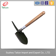 wooden handle multi tool camp shovel ax saw