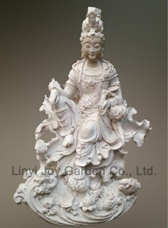Factory Wholesale Sitting White Marble Kuan Yin Statue