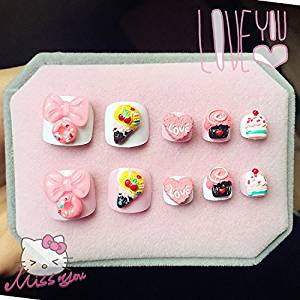 24Pcs Pink Princess Candy Cake Heart Decoration False Nails Prdicure Artificial Gift For Girls