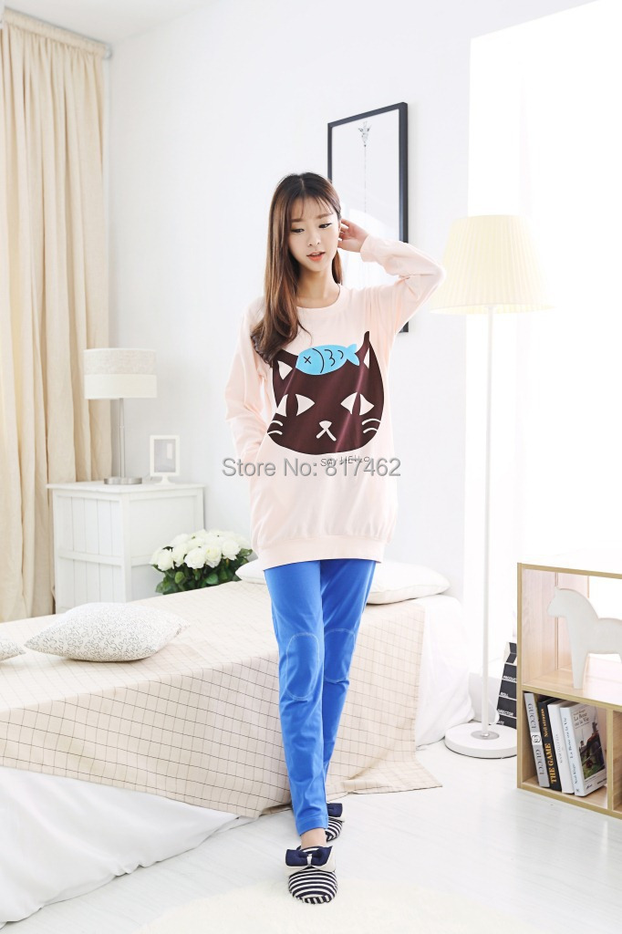 100% Cotton Cat Eat Fish Jacquard Girls Pajama Sets O-Neck Women s Lounge  Sleep df647ca0a