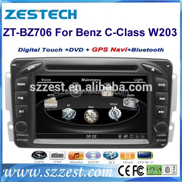 ZESTECH 7 inch touch screen car audio for Mercedes benz w203 Support GPS/DVR/RDS/3G/Steering wheel control