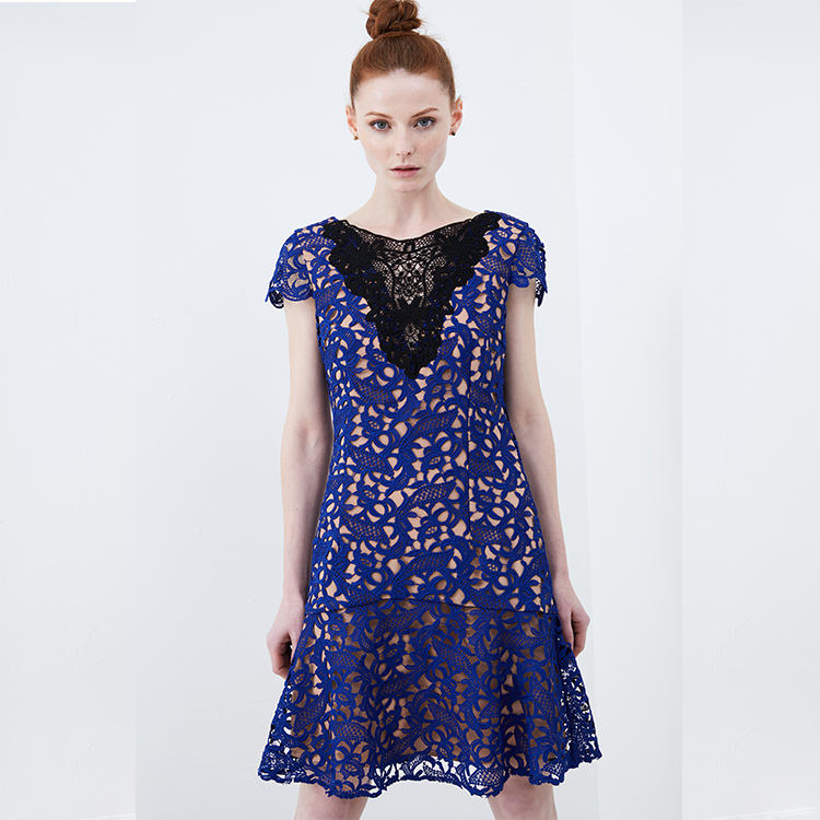 2019 new French fashion sapphire high waist  blue lace fabric through ladies  dress women
