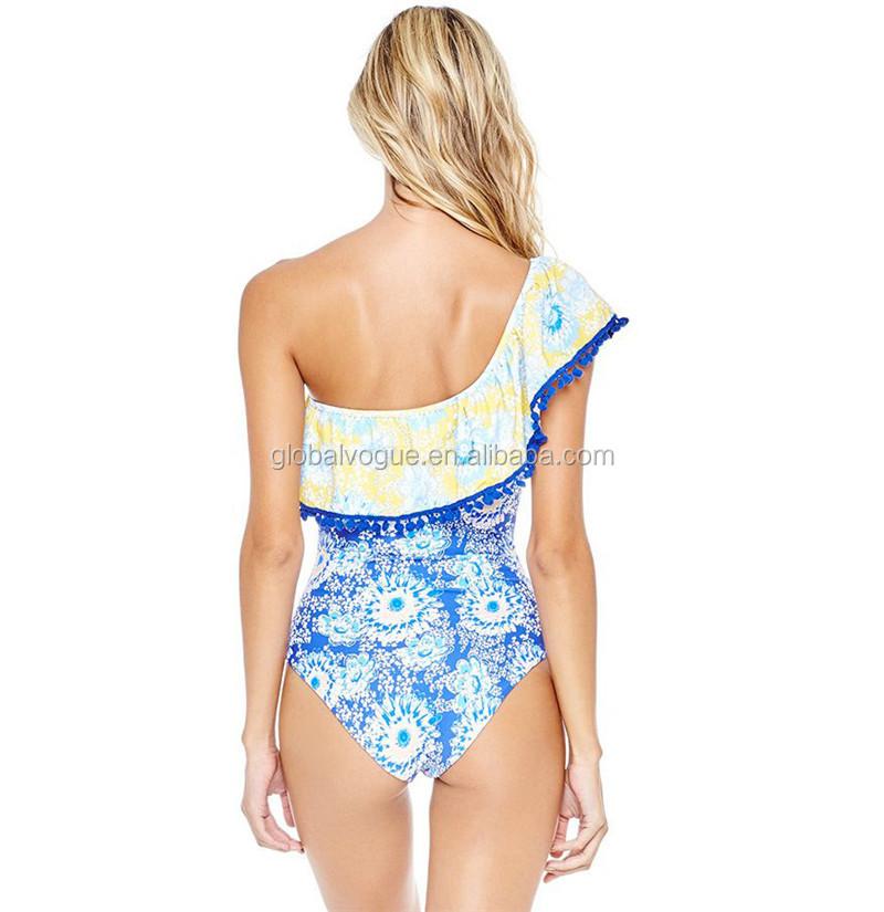 359c18e4fec64 2017 New Sexy Off The Shoulder Solid Swimwear Women One Piece Swimsuit  Female Bathing Suit Ruffle Monokini XL Swimwear