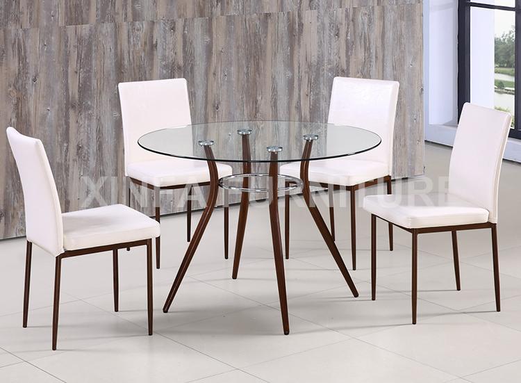Elegant Philippine Por Round Gl Top Metal Leg Dining Table Set
