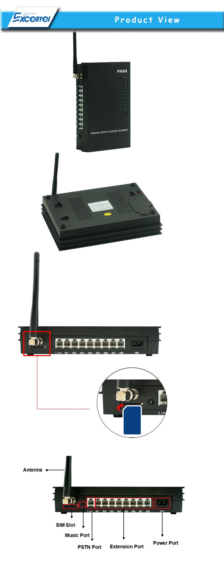 Gsm Pabx Pbx Telephone Exchange System With Sim Card Ms108-gsm ...