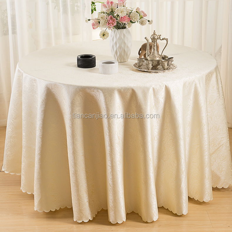 LEPANXI brand heavy duty decorative banquet purple white round polyester wedding table cloths