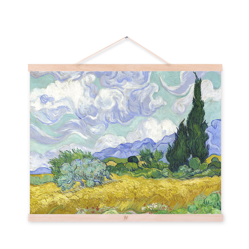 Buy vincent van gogh modern impressionist yellow field landscape poster prints original cottage canvas oil paintings wall art gifts in cheap price on