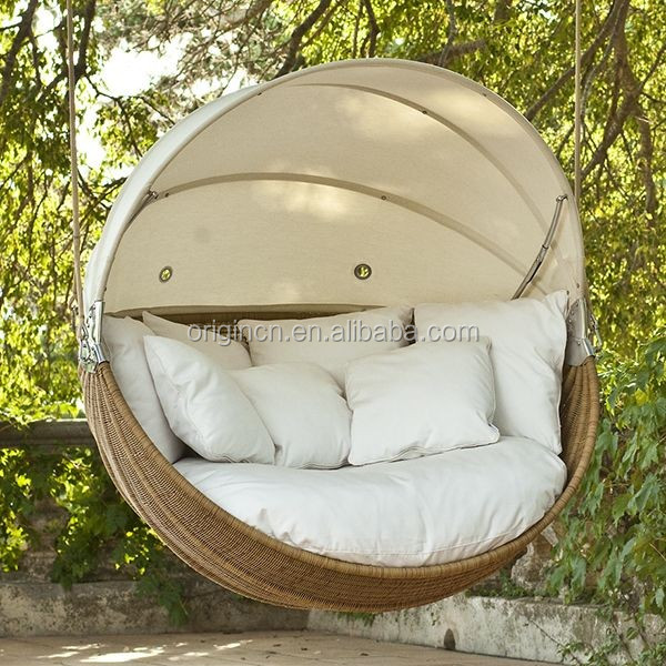 2016 eye catching latest design round garden swing with for Round hanging porch bed