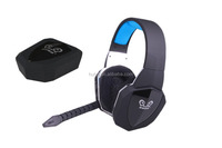 Fiber-optical 2.4Ghz patented wireless game headset headphone for all game consoles with detachable & adjustable microphone