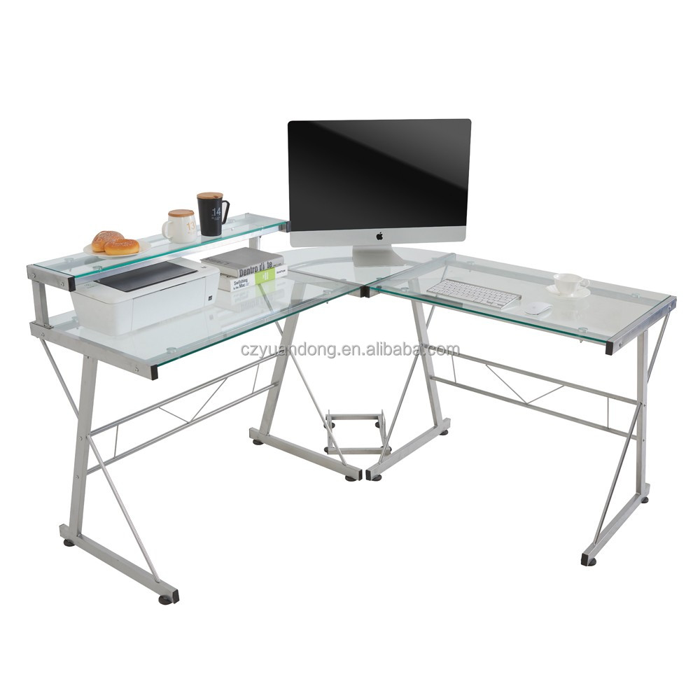 Gl Tope Metal Corner Office Table L Computer Models Design Recliner Product On