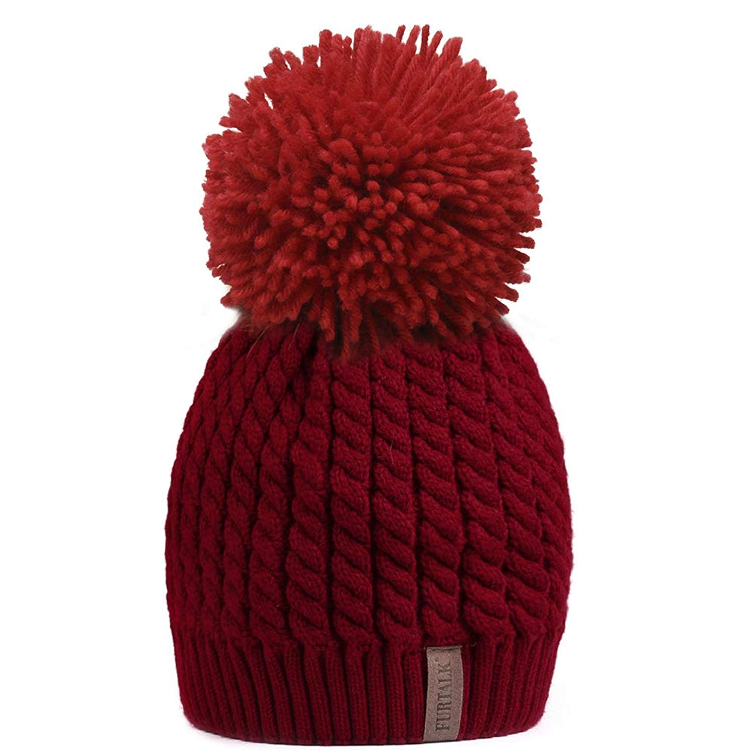 Get Quotations · FURTALK Women Winter Knitted Pom Beanie-Fur Hat Big Raccoon  Pom Pom Hat Women Crochet 5c03dbdfb8ec