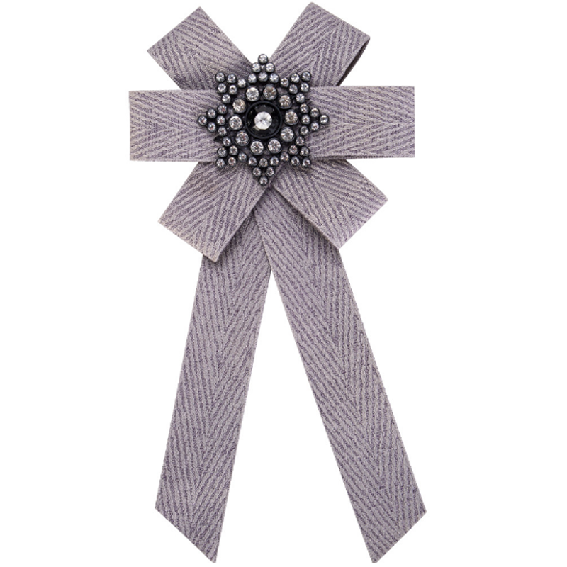 Drop shipping Handmade Bohemian style ribbon bow brooch pins rhinestone women necktie for wholesale bh100472