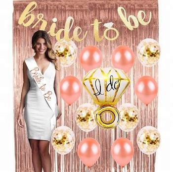 Rose Gold Bachelorette Party Kit Bridal Shower Decorations Set Wedding Garter Veil Sash Girl Hen Night Bridal Shower Decorations Buy Rose Gold