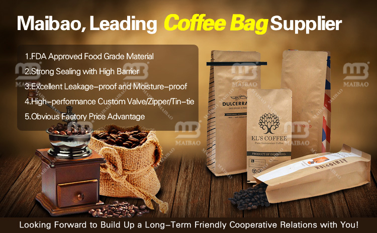 Kraft Paper Tin Tie Coffee Bag With Valve