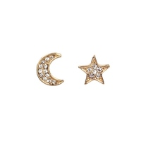 Wholesale Jewelry Silver/Gold Fashion Small Pave Zircon Moon Star Stud Earrings