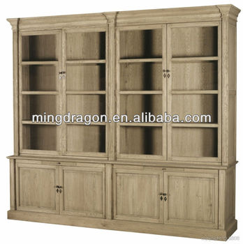 Antique Rustic Style Recycled Oak Wood Natual Bookshelf