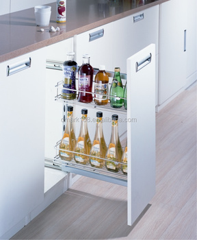 Metal Cabinet Pull Out Drawer Side Slide Kitchen Cabinet Basket /Round  Metal Wire Under Cabinet