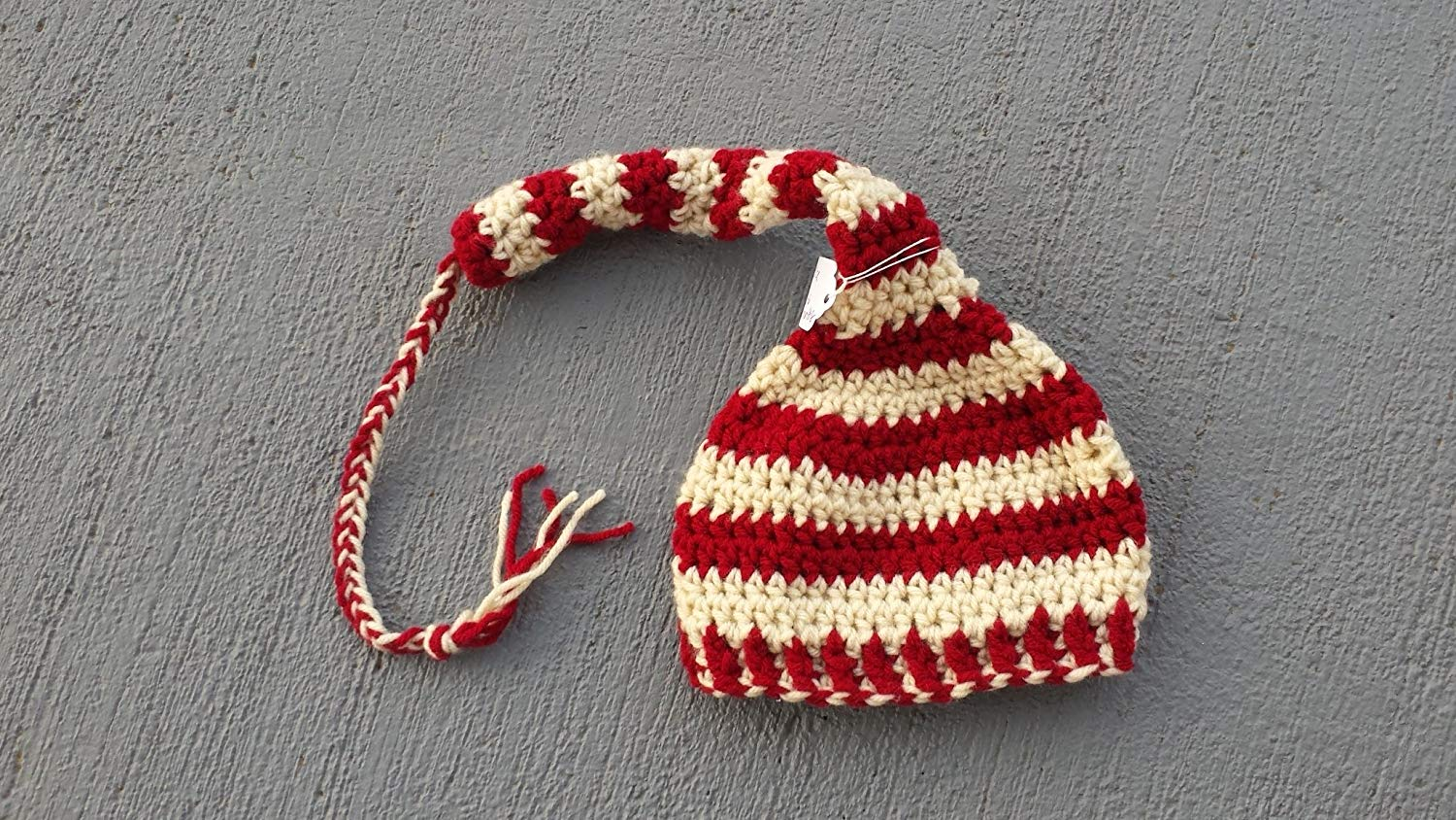 666e03d7d02 Get Quotations · Elf style braided tail stocking hat for baby. SIZE 3 to 6  months. Burgundy