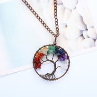 Personalize Women Necklace Tree Stone Pendant Valentines Girls Wedding Necklace 2019